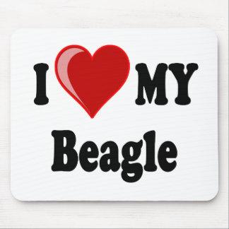 Tapis De Souris J'aime (coeur) mon chien de beagle