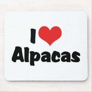 Tapis De Souris J'aime des alpaga de coeur