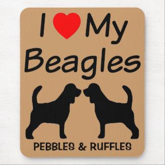 Tapis De Souris J'aime ma race Mousepad de chien de deux beagles