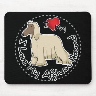 Tapis De Souris J'aime mon chien de lévrier afghan