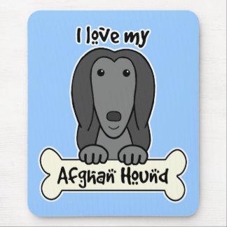 Tapis De Souris J'aime mon lévrier afghan