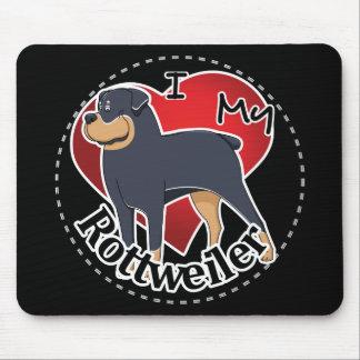 Tapis De Souris J'aime mon rottweiler drôle et mignon adorable