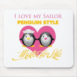 Tapis De Souris J'aime mon style de pingouin de marin