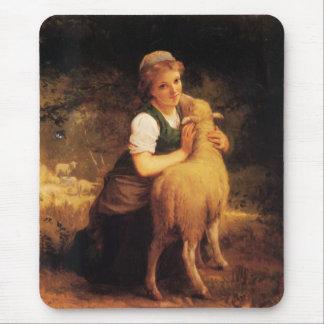 Tapis De Souris Jeune fille avec l'agneau