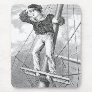 Tapis De Souris Jeune homme de pirate sur la surveillance