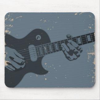 Tapis De Souris Joueur de guitare rustique bleu et noir