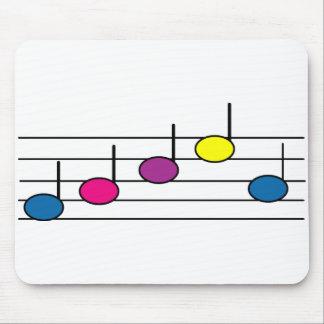 Tapis De Souris La musique note le jaune rose bleu pourpre