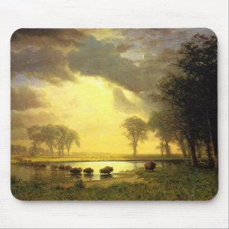 Tapis De Souris La traînée de Buffalo, Albert Bierstadt