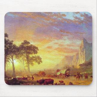 Tapis De Souris La traînée de l'Orégon, Albert Bierstadt