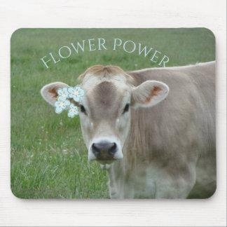 Tapis De Souris La vache douce du Jersey préconise flower power