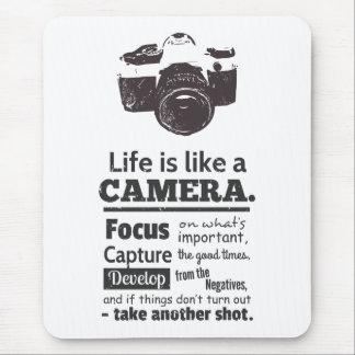Tapis De Souris La vie est comme une citation d'appareil-photo,