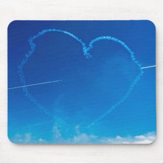 Tapis De Souris L'avion en forme de coeur traîne le mousepad