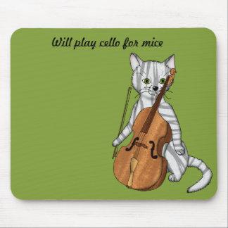 Tapis De Souris Le chat de violoncelle jouera pour des souris
