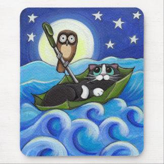 Tapis De Souris Le hibou et l'art lunatique de chat du minou  