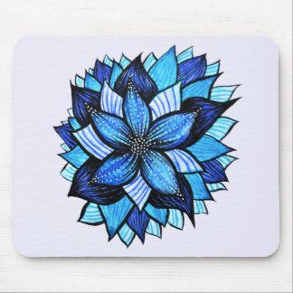 Tapis De Souris Le joli mandala bleu abstrait aiment le dessin de