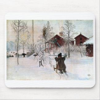 Tapis De Souris Le yard et le Lavage-House, Carl Larsson