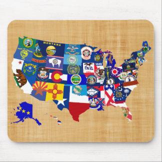 Tapis De Souris L'état américain de carte marque la mosaïque
