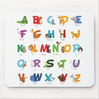 Tapis De Souris Lettres animales mignonnes d'alphabet