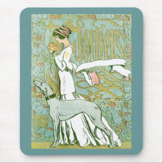 Tapis De Souris Lévrier et Madame de Nouveau d'art avec la fleur