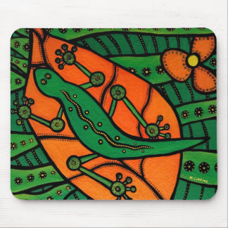 Tapis De Souris Lézard orange et vert de Gecko