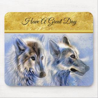 Tapis De Souris Loups bleus et blancs de glace avec la texture de