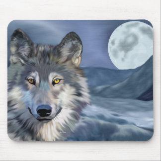 Tapis De Souris Lune de loup d'hiver pleine