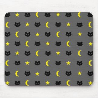 Tapis De Souris Lune et étoiles Mousepad de chat de Kitty