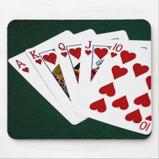 Tapis De Souris Mains de poker - quinte royale - costume de coeurs