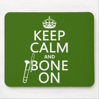 Tapis De Souris Maintenez calme et 'os sur (trombone - toute