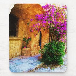 Tapis De Souris Maison en pierre grecque - vieille bouganvillée en