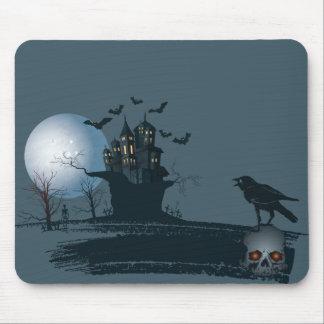 Tapis De Souris Maison hantée, squelette, arbre mort, lune,