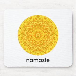 Tapis De Souris Mandala rond ensoleillé Namaste de rose jaune