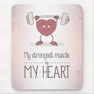Tapis De Souris Mon muscle plus fort est mon coeur