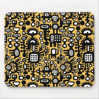 Tapis De Souris Monde de Mechanoid - noir et blanc avec l'ambre