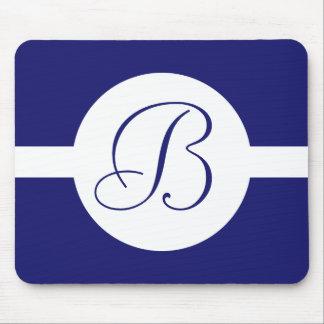 Tapis De Souris Monogramme bleu audacieux de cercle