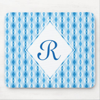 Tapis De Souris Monogramme bleu de diamant