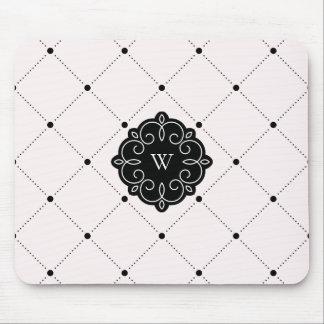 Tapis De Souris Monogramme de motif de points de diamant rose et