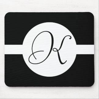Tapis De Souris Monogramme noir et blanc de cercle