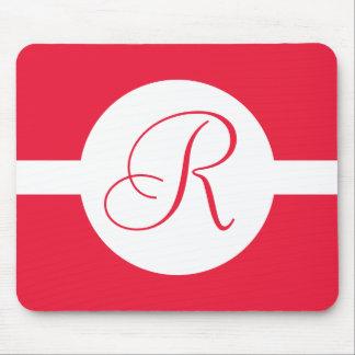Tapis De Souris Monogramme rouge audacieux de cercle