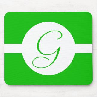 Tapis De Souris Monogramme vert clair de cercle