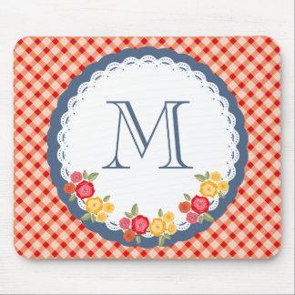 Tapis De Souris Monogramme vintage rouge de fleur de guingan