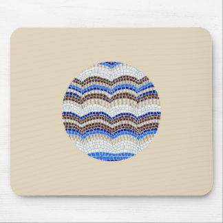 Tapis De Souris Mosaïque bleue ronde Mousepad