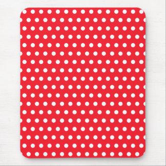 Tapis De Souris Motif de point rouge et blanc de polka. Tacheté
