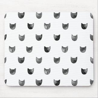 Tapis De Souris Motif mignon chic noir et blanc de chat