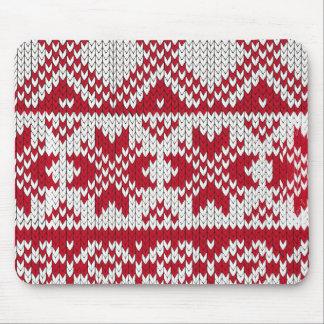 Tapis De Souris Motif tricoté de Noël en rouge et blanc
