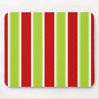 Tapis De Souris Motif vert et rouge de vacances de Noël de rayures