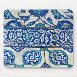 Tapis De Souris Motifs bleus et blancs d'iznik vintage classique