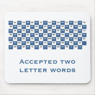 Tapis De Souris Mousepad à deux lettres de mots (international.