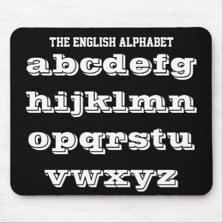 Tapis De Souris Mousepad blanc et noir d'alphabet anglais par Janz