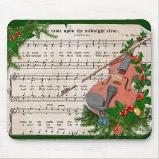 Tapis De Souris Musique de feuille vintage de Noël avec le violon